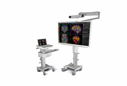 laptop on cart and large monitor showing colorful brain images