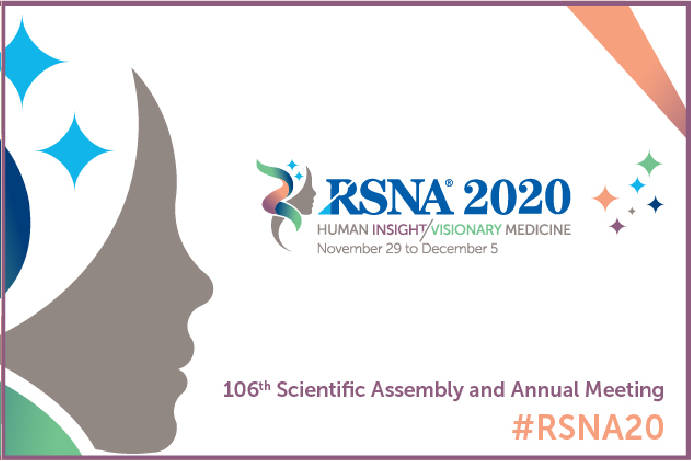 white background with RSNA 2020 in blue and grey side-profile of a person