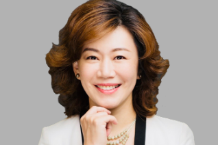 smiling woman in suit