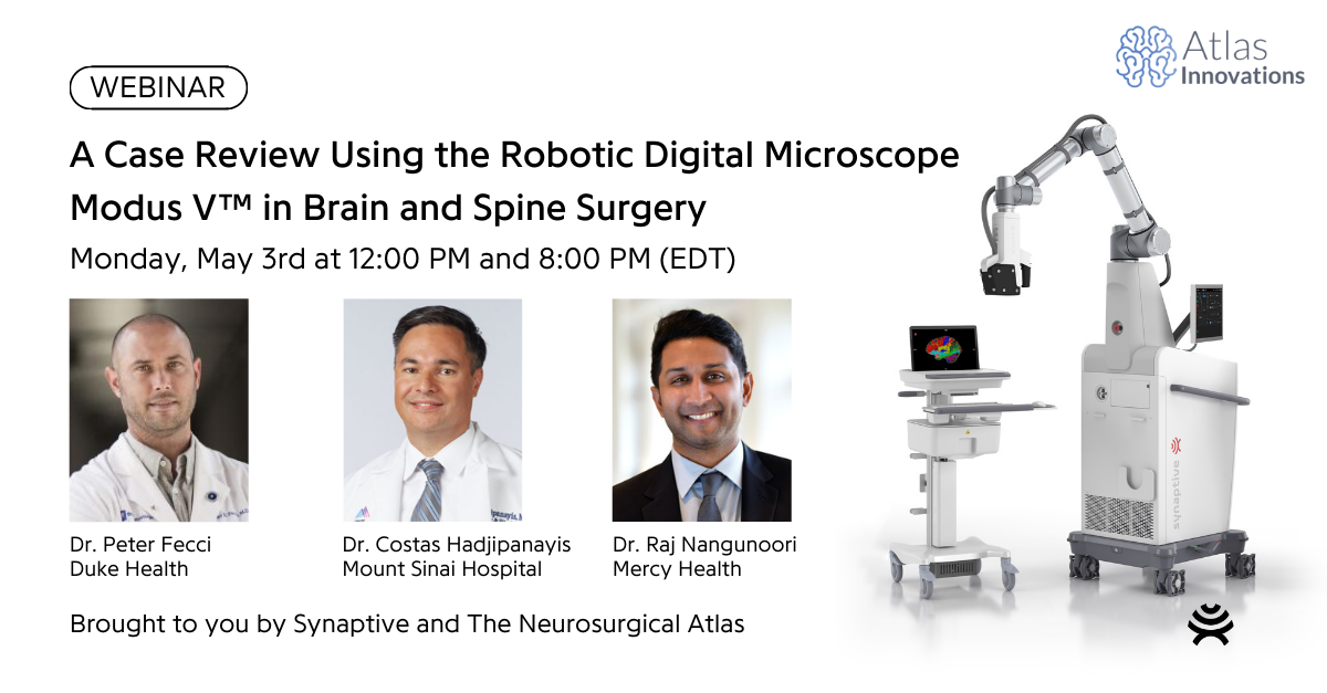 webinar promotion for May 3rd, includes photo of 3 surgeons, a computer with a colorful brain, and a robotic digital microscope