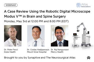 white background with photos of surgeons and robotic digital microscope